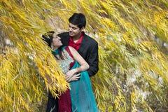Glückliche junge indische Paar-Aufstellung lizenzfreie stockfotos