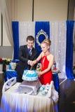 Glückliche junge Jungvermähltenpaar-Ausschnitthochzeitstorte am Bankett Stockbilder