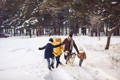 Glückliche junge kaukasische Familie spielt mit einem Hund im Winter in einem Kiefernwald lizenzfreies stockfoto
