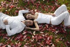 Glückliche junge Paare, die in den Herbstblättern liegen stockfotografie