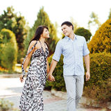 Glückliche junge Paare, die zusammen in einen grünen Park gehen stockfotos
