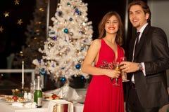 Glückliche junge Paare mit Champagnergläsern Stockfotografie