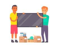 Glückliche junge Paare vector die flachen Leute, die zusammen in Bewegungswohnung des neuen Hauses umziehen Beweglicher Service d lizenzfreies stockfoto
