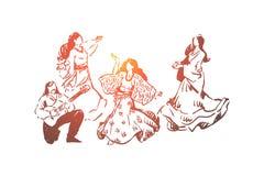 Gl?ckliche junge T?nzer in den Kleidern, Mann, der Musikinstrument, traditionelle Unterhaltung spielt stock abbildung
