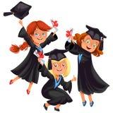 Glückliche Jungen und Mädchen auf Abschlussfeier lizenzfreie abbildung