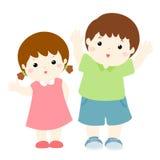 Glückliche Jungen- und Mädchenzeichentrickfilm-figur stock abbildung