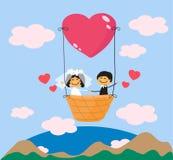 Glückliche Jungvermählten auf einem Ballon gegen einen blauen Hintergrund vektor abbildung