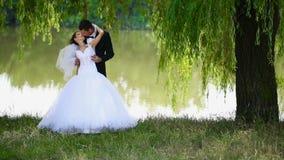 Glückliche Jungvermählten auf Natur stock video