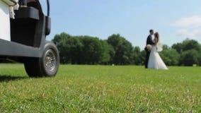 Glückliche Jungvermählten, die auf einem Golfplatz küssen stock video footage