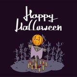 Glückliche Kürbise Halloweens Süßes sonst gibt's Saures, Schläger und Vollmond des Spinnennetzes auf dunkler Nachthintergrunddeko stockfotos
