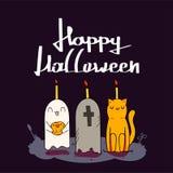 Glückliche Kürbise Halloweens Süßes sonst gibt's Saures, Schläger und Vollmond des Spinnennetzes auf dunkler Nachthintergrunddeko lizenzfreie stockfotos