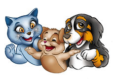 Glückliche Karikaturkatzen und -hund