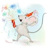 Glückliche Karikaturmaus stellt Feuerwerke her Stockfoto