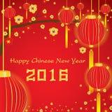 Glückliche Karte des Chinesischen Neujahrsfests 2016 auf rotem Hintergrund Stockfotos