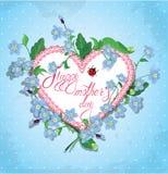 Glückliche Karte des Mutter Tages Herz wird von der Spitze gemacht vektor abbildung