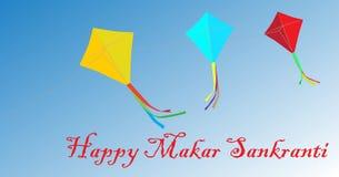 Glückliche Karte Makar Sankranti mit Drachen Lizenzfreie Stockfotos