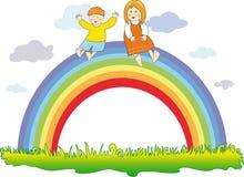 Glückliche Kinder auf dem Regenbogen vektor abbildung