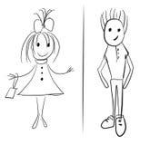 Glückliche Kinder der Handzeichnungs-Karikatur vektor abbildung