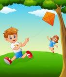 Glückliche Kinder, die Drachen spielen lizenzfreie abbildung