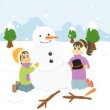 Glückliche Kinder, die einen Schneemann-Karikatur-Vektor aufbauen lizenzfreie abbildung