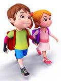 Glückliche Kinder, die zur Schule mit Schulebeutel gehen Stockfoto
