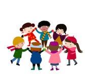 Glückliche Kinder Hand in Hand lizenzfreie abbildung
