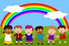 Glückliche Kinder mit Regenbogen Lizenzfreie Abbildung