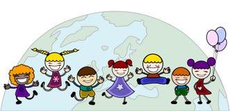 Glückliche Kinder mit Welt Lizenzfreies Stockbild