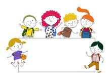 Glückliche Kinder und eine Fahne Lizenzfreie Stockbilder