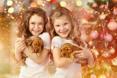 Glückliche Kinder und Hunde neben Weihnachtsbaum Neues Jahr 2018 Feiertagskonzept, Weihnachten, Hintergrund des neuen Jahres Lizenzfreie Stockfotos