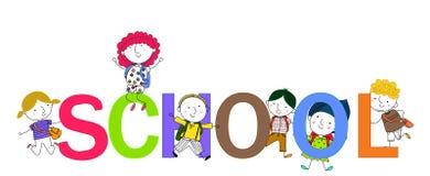 Glückliche Kinder und Schulwort Stockfoto