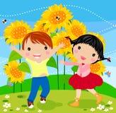 Glückliche Kinder und Sonnenblume stock abbildung