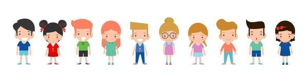 Glückliche Kinderkarikatursammlung Multikulturelle Kinder in den verschiedenen Positionen lokalisiert auf weißem Hintergrund lizenzfreie abbildung
