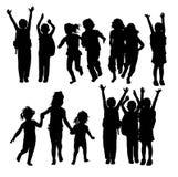 Glückliche Kindersport-und -tätigkeits-Schattenbilder stock abbildung