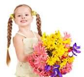 Glückliche Kindholdingblumen. Stockbilder