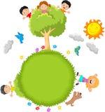 Glückliche Kindkarikatur lizenzfreie abbildung