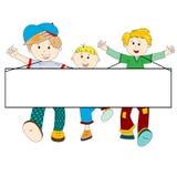 Glückliche Kindkarikatur mit unbelegter Fahne Stockbilder