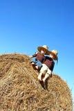 Glückliche kleine Jungen, die auf großem Hay Bale sitzen Lizenzfreies Stockfoto