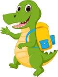 Glückliche Krokodilkarikatur, die zur Schule geht Stockbilder