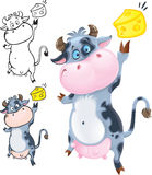 Glückliche Kuh mit Käse Stockfotografie