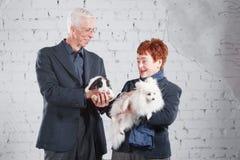 Glückliche lächelnde alte Paare, die zusammen mit Haustierkaninchen und -hund auf weißem Ziegelsteinhintergrund stehen Lizenzfreie Stockbilder