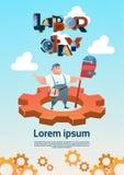 Glückliche lächelnde Arbeiter-internationale Werktags-Feier kann Feiertags-Gruß-Karte stock abbildung