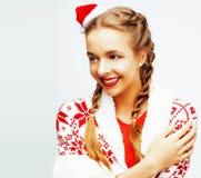 Glückliche lächelnde blonde Frau der Junge recht auf Weihnachten in Sankt bezüglich Stockfotos