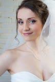 Glückliche lächelnde Braut im weißen Schleier und im Kleid Lizenzfreie Stockfotos
