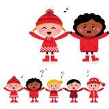 Glückliche lächelnde caroling multikulturelle Kinder vektor abbildung