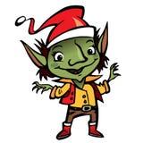 Glückliche lächelnde Elfen-Santa Claus-Zeichentrickfilm-Figur Stockbilder