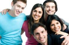 Glückliche lächelnde Freunde nah oben Stockfotografie