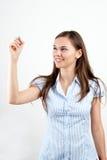 Glückliche lächelnde freundliche junge Geschäftsfrau Stockfoto