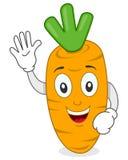 Glückliche lächelnde Karotten-Zeichentrickfilm-Figur Lizenzfreies Stockfoto