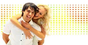 Glückliche lächelnde Paare in der Liebe Stockfotografie